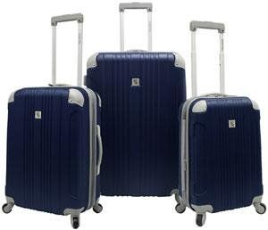 Malibu Hardsided 3 Piece Spinner Luggage Set Color Gray