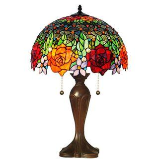 Tiffany Style Jeweled Roses Table Lamp