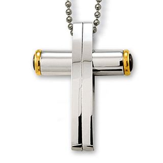 Stainless Steel Contemporary Cross Necklace