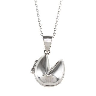 La Preciosa Sterling Silver Fortune Cookie Locket Necklace