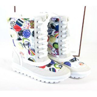 COACH DOREAN COACH HERITAGE LOGO PRINT BOOTS (White) (6.0) Shoes