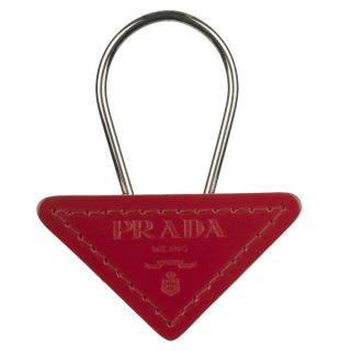 Prada Leather Triangle Logo Keyring