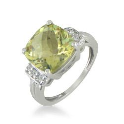 10k White Gold Lemon Quartz and Diamond Ring
