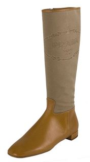 Prada Womens Beige Logo Jacquard Canvas Boots