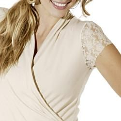Lilac Clothings Womens Maternity Karen Cream Lace sleeve Top