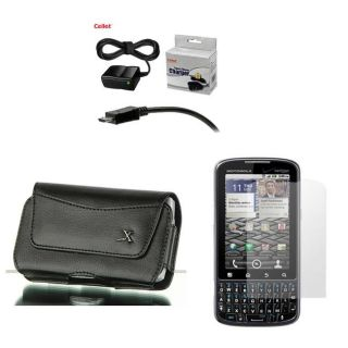 Motorola Droid Pro Leather Case with Screen Protector/ Travel Charger