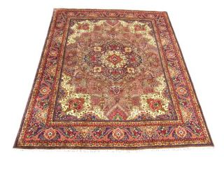 Persian Tabriz Hand knotted Purple Wool Rug (97 x 128)