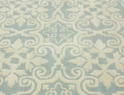 Handmade Spanish Tiles Light Blue Wool Rug (5 x 8)