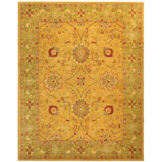 Handmade Antique Isfan Dark Gold/ Light Green Wool Rug (6 x 9