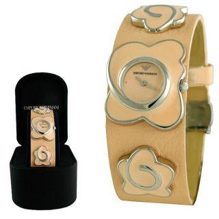 Armani Ladies Fashion Peach Dial Peach Leather Watch