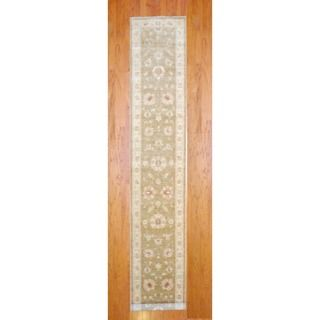 Afghan Hand knotted Light Brown/ Ivory Vegetable Dye Wool Runner (29