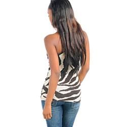 Stanzino Womens Ivory/Brown Animal Print One shoulder Top