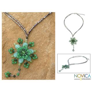 Carnation Dazzle Beaded Flower Necklace (Thailand)
