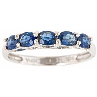 Yach 10k White Gold Blue Sapphire Classic 5 stone Ring
