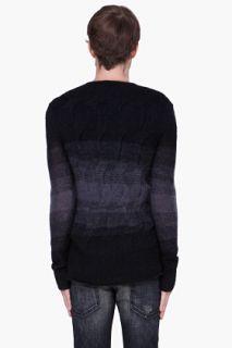John Varvatos Black Mohair Knit Ombré Sweater for men