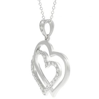 Journee Collection Silvertone Pave set CZ Interlocking Heart Necklace
