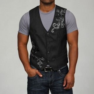 Pop Icon Mens Black Embroidered Button front Vest