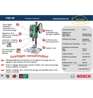 BOSCH Perceuse à colonne PBD 40 710W   Achat / Vente PERCEUSE