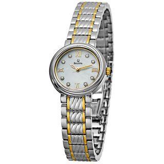 Bulova Womens Two tone Stainless Steel Diamond Watch