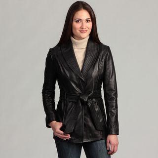 Collezione Italia Womens Leather Wrap Coat