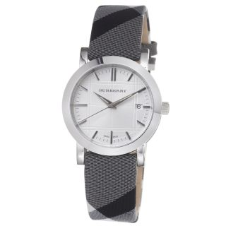 Burberry Womens Nova Check Silver Dial Fabric Strap Quartz Watch