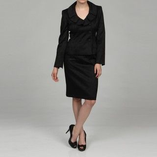 Evan Picone Womens Black Pleated Collar Skirt Suit