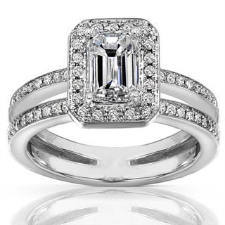 14k Gold 1 1/3ct TDW Emerald Cut Diamond Ring
