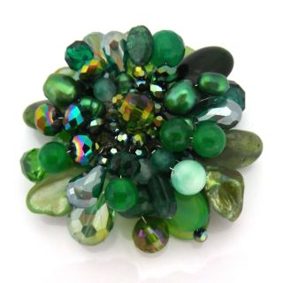 Green Blossoming Lotus Aventurine Stone Floral Pin/Brooch (Thailand