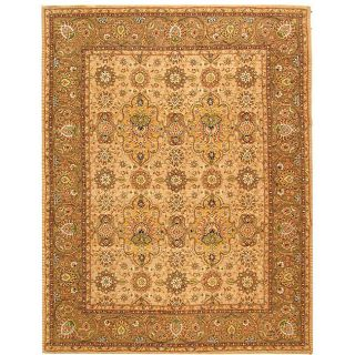 Handmade Legends Ivory/ Taupe Wool and Silk Rug (5 x 8)