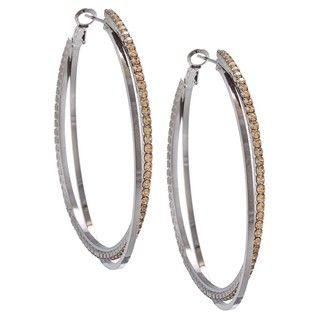 Morgan Ashleigh Two tone Glass Double Hoop Earrings