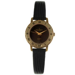 Peugeot Vintage 285AL Black Dial Gold Bezel Watch