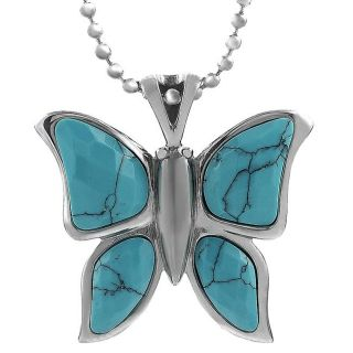Stainless Steel Turquoise colored Glass Butterfly Necklace