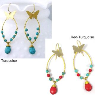 Brass Charming Butterfly Turquoise Drop Earrings (Thailand