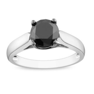 Miadora Sterling Silver 2ct TDW Black Diamond Ring