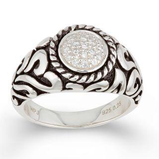 Sterling Silver Mens 1/4ct TDW Round Diamond Ring (H I, I1 I2