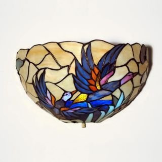 Tiffany style Half Moon Stained Glass Mallard Accent Light Compare $