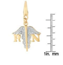 14k Gold Over Sterling Silver Diamond Accent RN Symbol Charm
