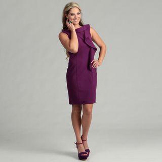 Calvin Klein Womens Mulberry Ruffled Dress FINAL SALE