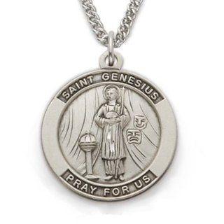 St Genesius, Patron Of Actors , Sterling Silver Engraved