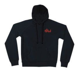 DW Drum Workshop Zip Hoodie, Black with Red & Gold