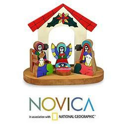 Handcrafted Pinewood Rejoice Nativity Scene (El Salvador