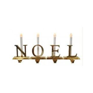 NOEL 4 Piece Lighted Brass Christmas Stocking Holder Set With Candle