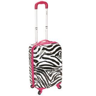 Rockland Zebra Pink 20 inch Lightweight Hardside Spinner Carry On