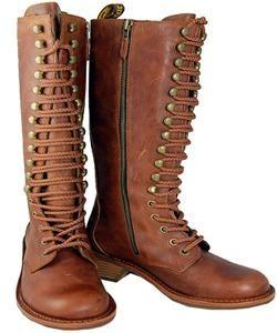 Dr. Martens Jolie Lace up/ Zip Womens Tan Boots