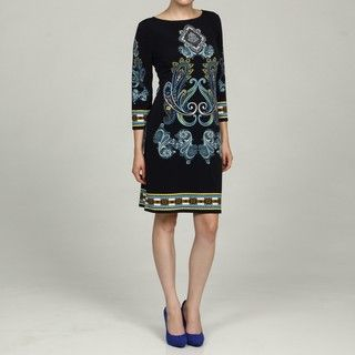 Glamour Boat Neck Paisley Print Dress