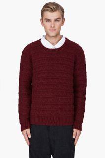 Raf Simons Burgundy Angora Wool Knit Sweater for men