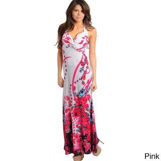 Stanzino Womens Floral Print Twist Wrap Maxi Dress