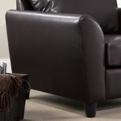 Mathew Dark Brown Faux Leather Club Chair