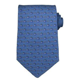 Versace Mens Greek Key w/ Pumpkin Stripes Silk Tie
