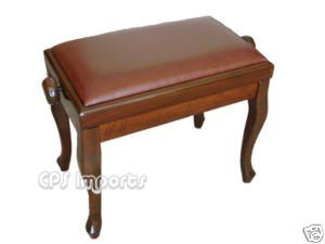Walnut Leather Classic Adjustable Piano Bench Musical